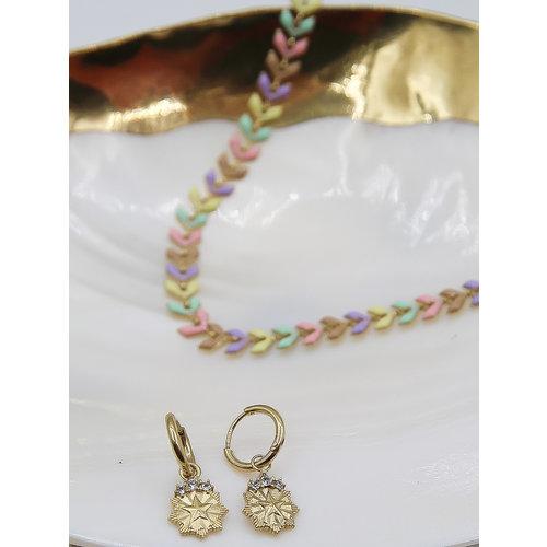 Ladylike  Fashion Diamond Earrings Gold