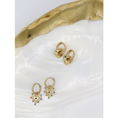 Ladylike  Fashion Heart Earrings Gold