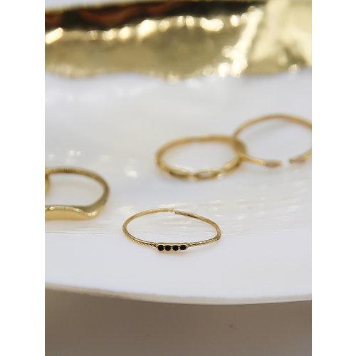 Ladylike  Fashion Black Diamonds Ring Gold