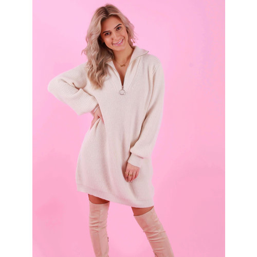 Kilky Knitted Oversized Dress Ecru