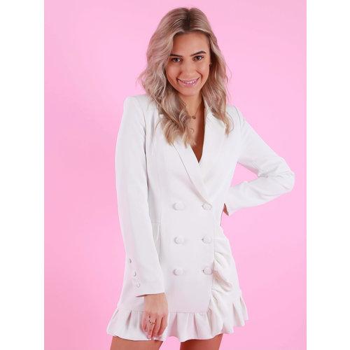 Drôle de  Copine Ruffled Blazer Dress White