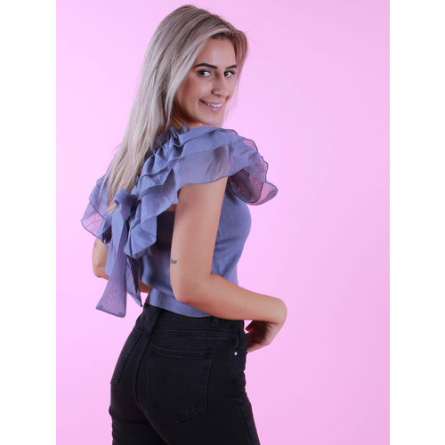 Flamant Rose Top Volant Sleeve Lilac
