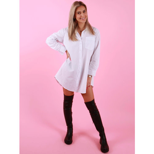 Retro Icone Long Basic Blouse White