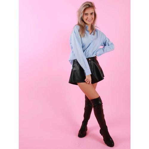 Retro Icone Basic Blouse Short Blue