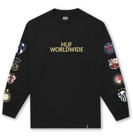 HUF HUF, WC CLUB CREST L/S TEE, BLACK