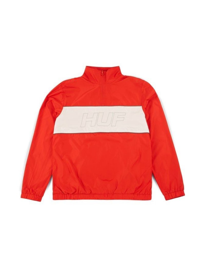 HUF HUF, STADIUM HALF ZIP TRACK JACKET, RED