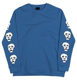 TIRED, APPAREL, CRAPPY SKULL CREWNECK, BLUE