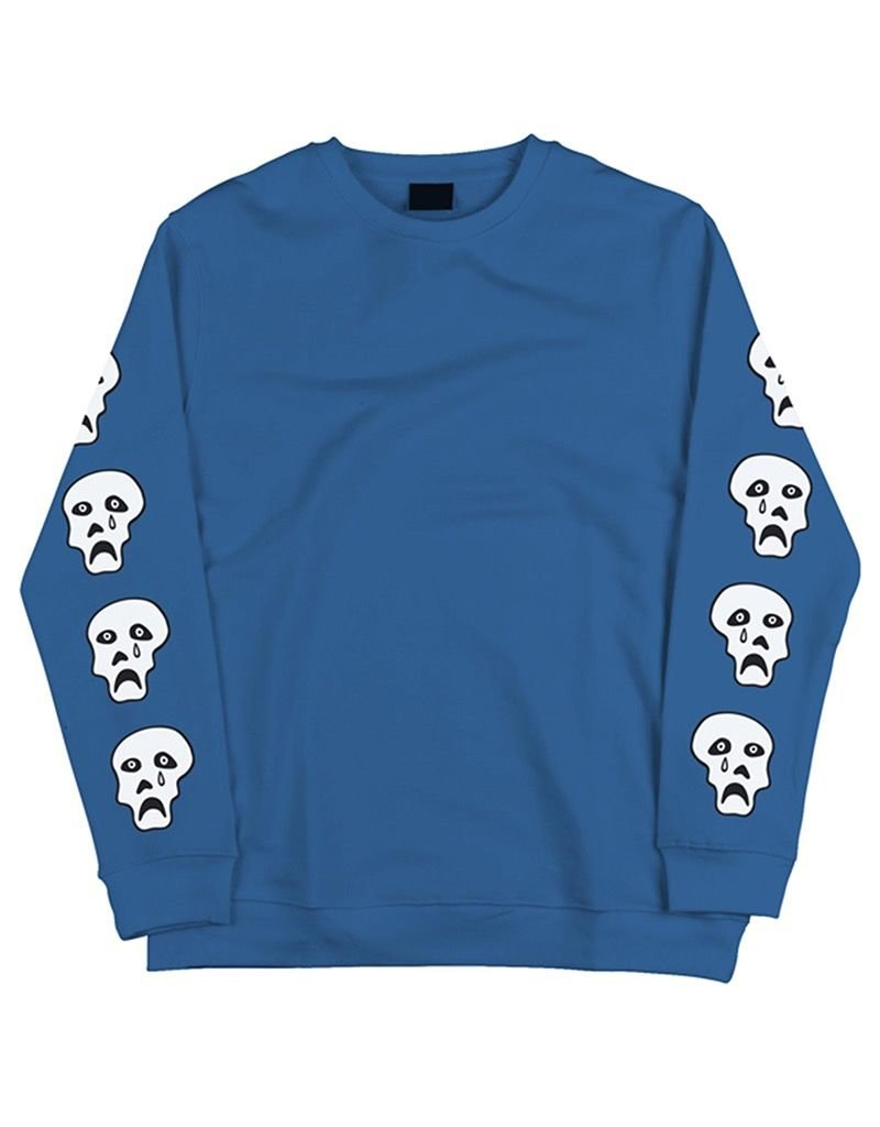 TIRED TIRED, APPAREL, CRAPPY SKULL CREWNECK, BLUE