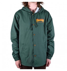 THRASHER THRASHER FLAME LOGO COACH JACKET FOREST GREEN