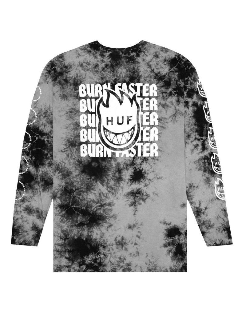 HUF HUF, SPITFIRE BURN FASTER L/S TEE, BLACK