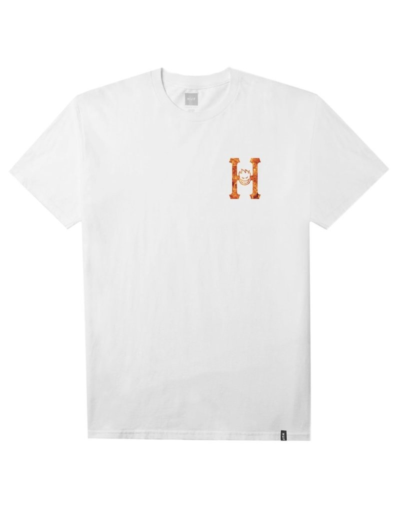 HUF HUF, SPITFIRE FLAMING H S/S TEE, WHITE