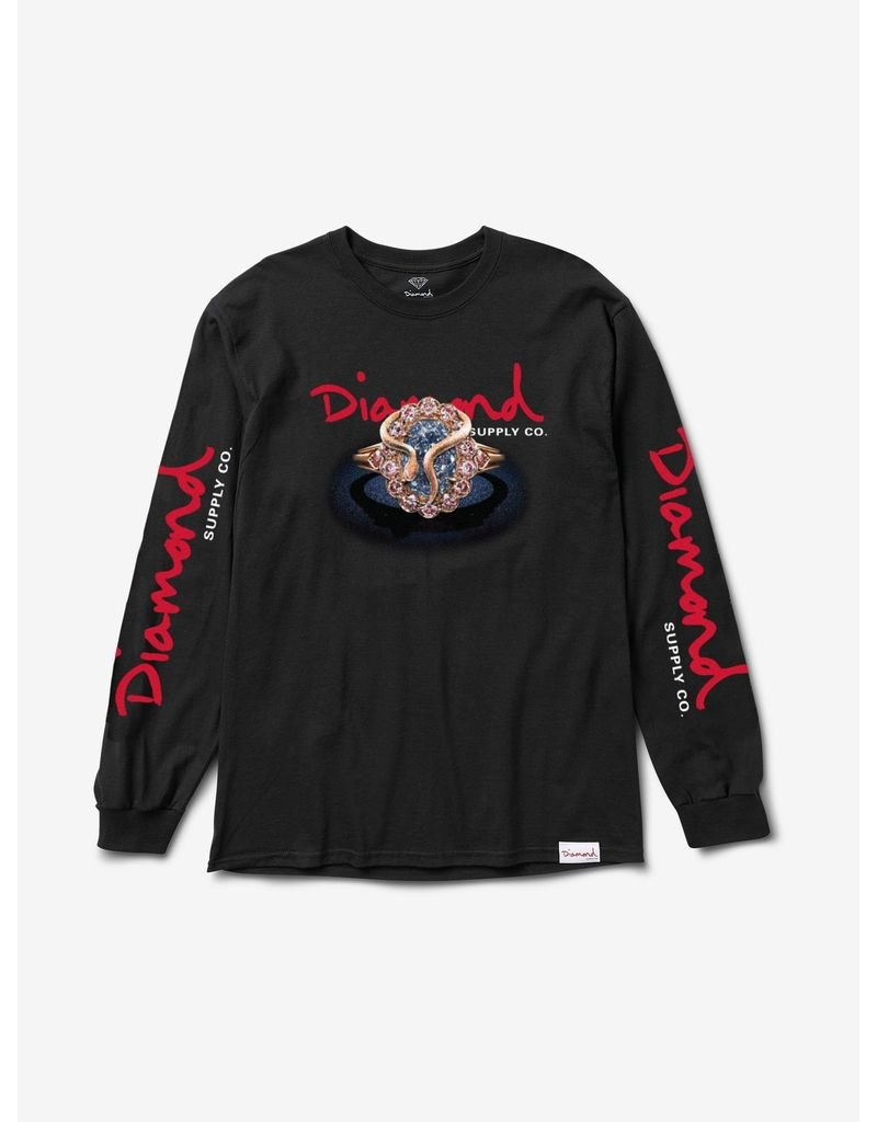DIAMOND DIAMOND, DIAMOND SNAKE LONG SLEEVE TEE, BLACK