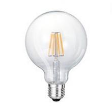 E27 6w Filament Lamp Globe125, 600 Lumen, Clear, Dimbaar, 2 jaar garantie
