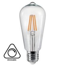 E27 6w Filament Lamp ST64, 600 Lumen, Clear, Dimbaar, 2 jaar garantie