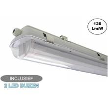 Complete LED TL Armatuur 60cm 20W, 2400LM (High Lumen), IP65, Incl. 2x led buizen, 2 Jaar garantie