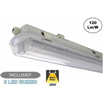 Complete LED TL Armatuur 120cm 36W, 4320LM (High Lumen), IP65, Incl. 2x led buizen, 2 Jaar garantie