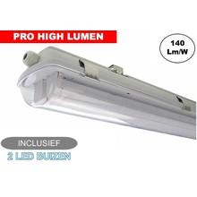 Complete LED TL Armatuur 120cm 40W, ±6000LM (Pro High Lumen), IP65, Incl. 2x led buis, 3 Jaar garantie