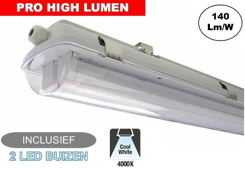 Tl Armatuur 150cm.Complete Led Tl Armatuur 150cm 48w 6600lm Pro High Lumen Ip65 Incl 2x Led Buis 3 Jaar Garantie