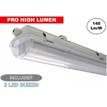 Complete LED TL Armatuur 150cm 48W, ±6600LM (Pro High Lumen), IP65, Incl. 2x led buis, 3 Jaar garantie