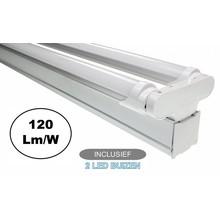 Complete LED TL Montagebalk 120cm, 36W, 4320LM (High Lumen), IP20, Incl. 2x led buis, 2 Jaar garantie