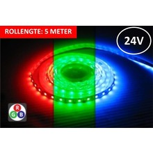 Led Strip ROL 5 Meter 5050SMD, 14,4w/m, 60 led/m, 900Lm/m, RGB, 24v, IP33, 10mm, 3 Jaar garantie