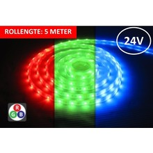 Led Strip ROL 5 Meter 5050SMD, 8,64w/m, 30 led/m, 450Lm/m, RGB, 24v, IP67, 12mm, 3 Jaar garantie