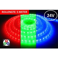 Led Strip ROL 5 Meter 5050SMD, 14,4w/m, 60 led/m, 900Lm/m, RGB, 24v, IP67, 12mm, 3 Jaar garantie
