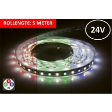 Led Strip ROL 5 Meter 5050SMD, 12w/m, 72 led/m, 900Lm/m, RGB+4000K, 24v, IP33, 12mm, 3 Jaar garantie