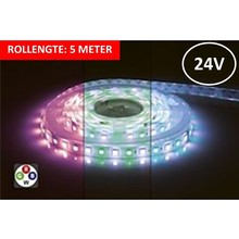 Led Strip ROL 5 Meter 5050SMD, 12w/m, 72 led/m, 900Lm/m, RGB+7000K, 24v, IP33, 12mm, 3 Jaar garantie