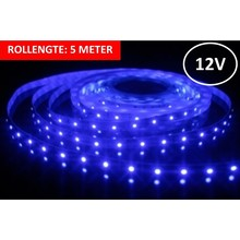 Led Strip ROL 5 meter 3528SMD, 6w/m, 60 led/m, 66Lm/m, Blauw, 12v, IP33, 8mm, 3 Jaar garantie