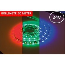 Led Strip ROL 50 Meter 5050SMD, 12w/m, 72 led/m, 900Lm/m, RGB+3000K, 24v, IP33, 12mm, 3 Jaar garantie