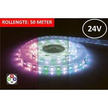 Led Strip ROL 50 Meter 5050SMD, 12w/m, 72 led/m, 900Lm/m, RGB+7000K, 24v, IP33, 12mm, 3 Jaar garantie