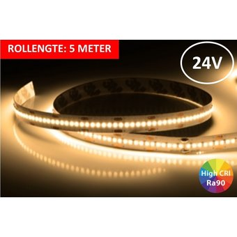 Led Strip ROL 5 Meter 2016SMD, 18w/m, 300 led/m, 1420Lm/m, 2700K Warm wit, CRI90, 24v, IP33, 10mm, 3 Jaar garantie