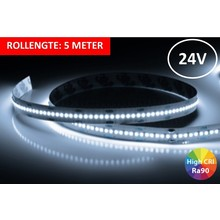 Led Strip ROL 5 Meter 2016SMD, 18w/m, 300 led/m, 1550Lm/m, 4000K Neutraal wit, CRI90, 24v, IP33, 10mm, 3 Jaar garantie