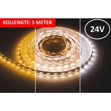 Led Strip ROL 5 Meter 2835SMD, 9,6w/m, 120 led/m, 600Lm/m, CCT 2400-6000K, 24v, IP33, 10mm, 3 Jaar garantie