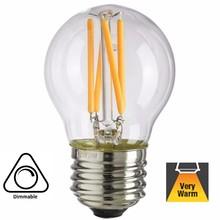 E27 Filament Bollamp 4w, 380 Lumen, 2100K Flame, Dimbaar, 2 jaar garantie