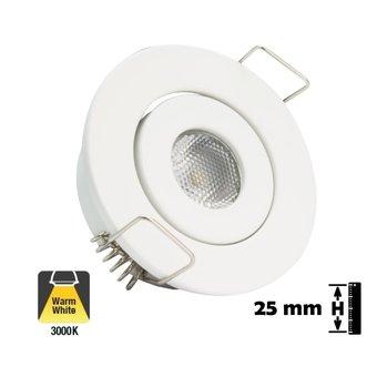 Inbouw LED Spot 1w, 80 Lumen, Kantelbaar, Gatmaat 45mm, Wit, IP20, 2 Jaar Garantie
