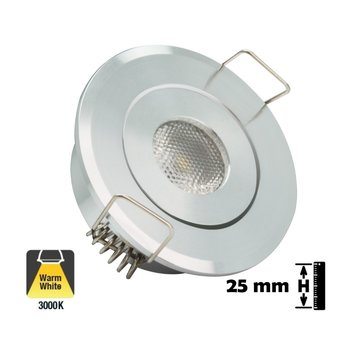 Inbouw LED Spot 1w, 80 Lumen, Kantelbaar, Gatmaat 45mm, Zilver, IP20, 2 Jaar Garantie