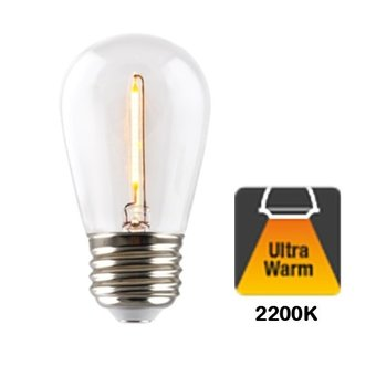 E27 1w Filament Bol Lamp, 60 Lumen, Transparante Kap