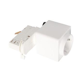 3 Fase Rail Adapter met Stekkerdoos, Wit