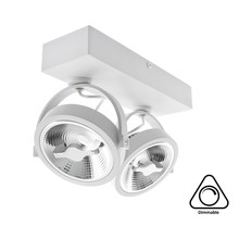 Opbouw LED Spot 2x AR111, 30w, 1600 Lumen, Dimbaar, Wit Armatuur, 3 Jaar Garantie