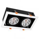 Inbouw Spot Armatuur 2x AR111, gatmaat 350x160mm, Wit/Zwart , Met 2x GU10 Fitting