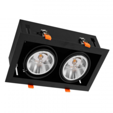 Inbouw Spot Armatuur 2x AR111, gatmaat 350x160mm, Zwart/Zwart , Met 2x GU10 Fitting