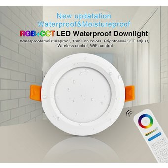 Mi-Light LED Downlighter 6w RGB + CCT, Wifi/RF, 550 Lumen, IP54, Gatmaat 100mm, 2 Jaar Garantie