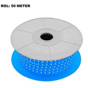 LED Lichtslang Blauw, Rol: 50 Meter, 10w/m, 60 leds/m, 460lm/m, IP65, 230V, 2 Jaar Garantie