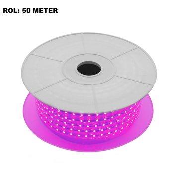 LED Lichtslang Violet, Rol: 50 Meter, 10w/m, 60 leds/m, 400lm/m, IP65, 230V, 2 Jaar Garantie