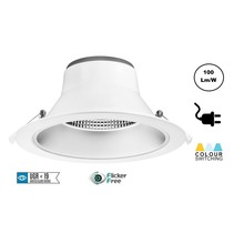 CCT Reflector Led Downlighter 28w, 2380-2800 Lumen, gatmaat Ø195mm, UGR19, Stekkerklaar, 3 Jaar Garantie