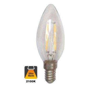 E14 Filament Kaarslamp 1,6w Helder, 150 Lumen, 2100K Flame, 2 Jaar Garantie