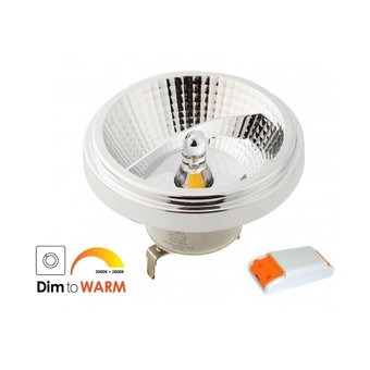 G53 AR111 LED Spot 12w, 780 Lumen, Dim To Warm, 45°, Incl. Led Driver, Dimbaar, Wit armatuur, 2 Jaar Garantie