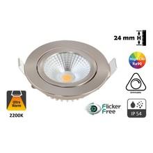 WEEKACTIE: Inbouw LED Spot 5w Flat, 450 Lumen, 2200K, Kantelbaar, IP54, Dimbaar, CRI90, Staal Armatuur, Gatmaat 75mm, 2 Jaar Garantie